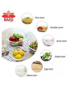 BMS Lifestyle BGB-04 Borosilicate Glass Mixing Bowl Set, 4-Pieces, Transparent