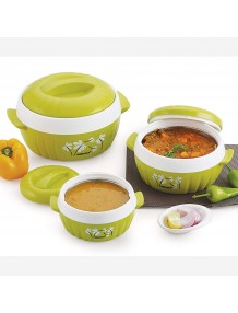BMS Lifestyle Designer Food Safe Serving Casserole & Gift Set of 3 Pcs, Green