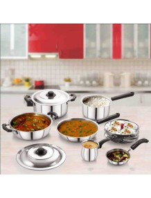 BMS Lifestyle Induction Stainless Steel Cookware Set, 9-Pieces, Silver