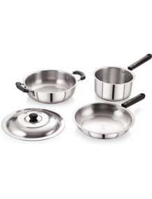 BMS Lifestyle 4-Piece Induction Friendly Stainless Steel Cookware Set, Silver