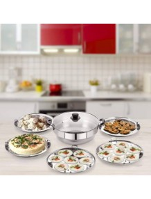 BMS Lifestyle Big 5-in-1 induction Friendly Capsual Bottom Stainless Steel Multi Kadhai With Lid And 5 Plate Set