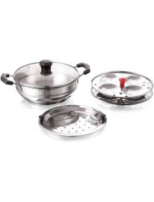 BMS Lifestyle Induction Base Stainless Steel Glass Lid Modak, Momo and idli Maker with Steamer Cooker, 3-Plates