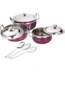 BMS Lifestyle Home & Kitchen Essentials Cooking Serving & Storage Cookware Handi Pots Set of 9 (3HANDI+3LID+3SPOON) Pink Cookware Set