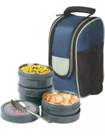 BMS Lifestyle Maxfresh 2In1 Steel and Polypropylene Lunch Box Set, 6 Pieces, Grey