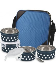 BMS Lifestyle Lock and Lock Polka Design 2in1 Steel & Polypropylene Lunch Box Set, 8 Pieces , Beige Carrier