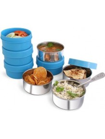 Bms Lifestyle Maxfresh 2In1 Steel & Polypropylene Lunch Box Set, 8 Pieces, Blue