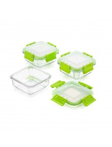 BMS Lifestyle Borosilicate Glass Klip & Lock Microwavable Lunch Box Containers with Lunch Bag, 400ml Square, Set of 3, Transparent