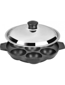 BMS Lifestyle BMS-7KWL Non-Stick 7 Cavity Appam Patra with lid, Black