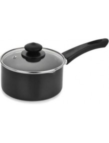 BMS Lifestyle Delux Induction Base Sauce Pan with Glass Lid, Black