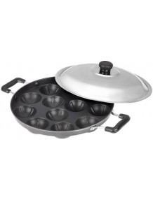 BMS Lifestyle Non-Stick Breakfast Combo 12 Cavity Appam Patra Maker, Roti Tawa and Grill Pan Cookware Set, 3-Pieces, Black