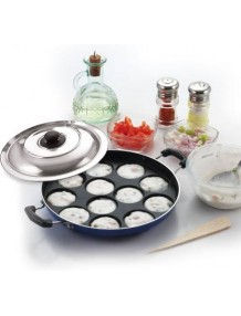BMS Lifestyle Non-Stick 12 Cavity Appam Patra Maker with lid-Blue