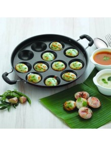 BMS Lifestyle Health-Pro Stainless Steel Non-Stick 12 Cavity Appam Patra Side Handle with lid