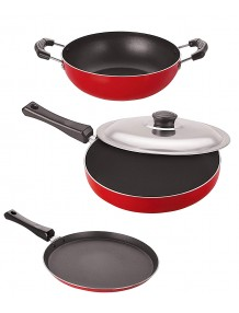 BMS Lifestyle Non-Stick Aluminium Cookware Set, 3-Pieces,(Fry Pan with Lid, Kadai 1.5 Liter Without Lid & Dosa Tawa) Red/Black