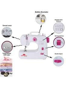 BMS Lifestyle Stitchmaster 16 Built-in-Stitch Multi-Function Portable Electric Sewing Machine (White)